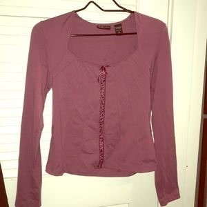 New York & Company Long Sleeve LaceUp Blouse Mauve